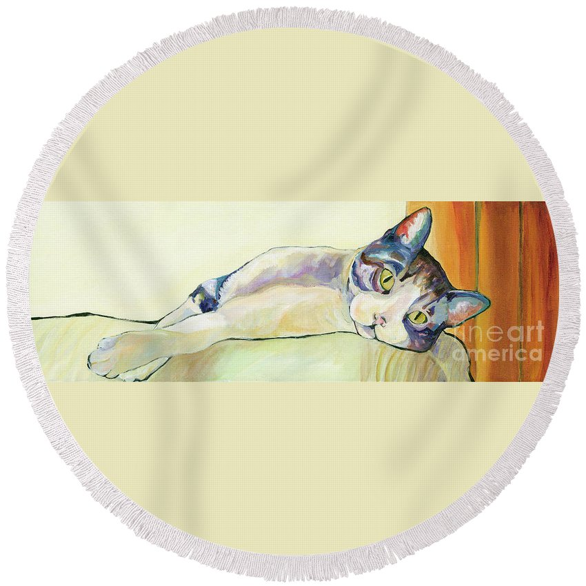 Pat Saunders-white Canvas Prints Round Beach Towel featuring the painting The Sunbather by Pat Saunders-White