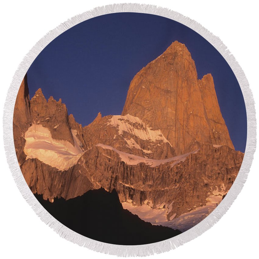 Patagonia Round Beach Towel featuring the photograph The Sunrise Of Fire Mt Fitzroy by James Brunker
