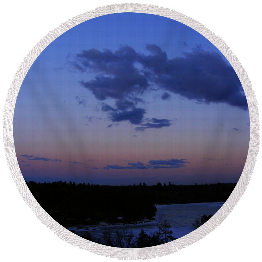 Sunset Round Beach Towel featuring the photograph The Sunset Moon In Winter by Mark Hudon