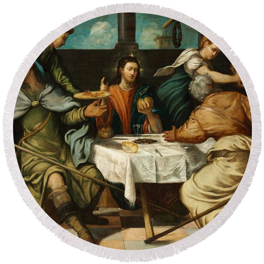 1542-1543 Round Beach Towel featuring the painting The Supper At Emmaus by Tintoretto