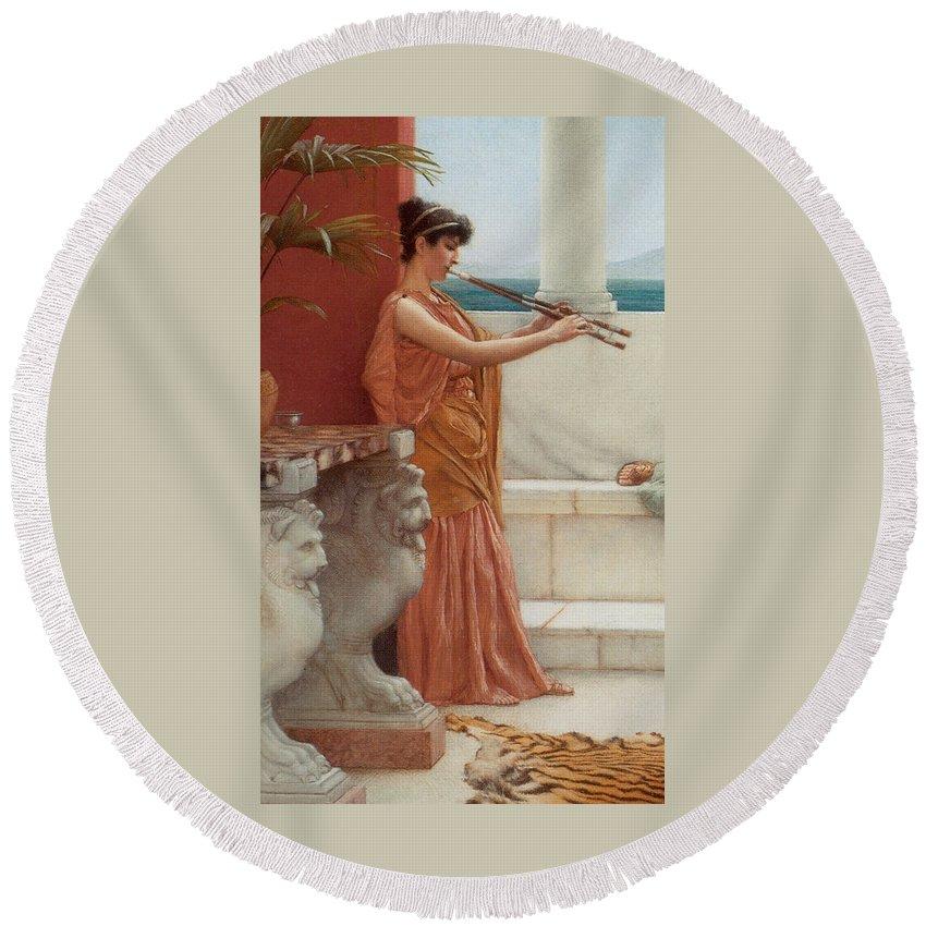 John William Godward Round Beach Towel featuring the digital art The Sweet Siesta Of A Summer Day Detail by John William Godward