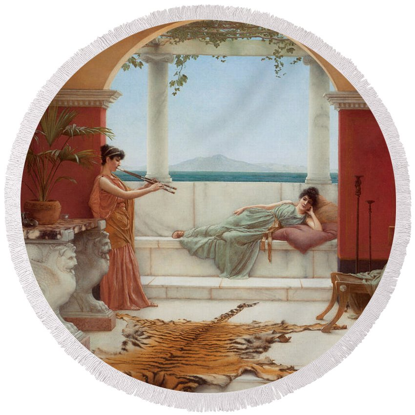 John William Godward Round Beach Towel featuring the digital art The Sweet Siesta Of A Summer Day by John William Godward