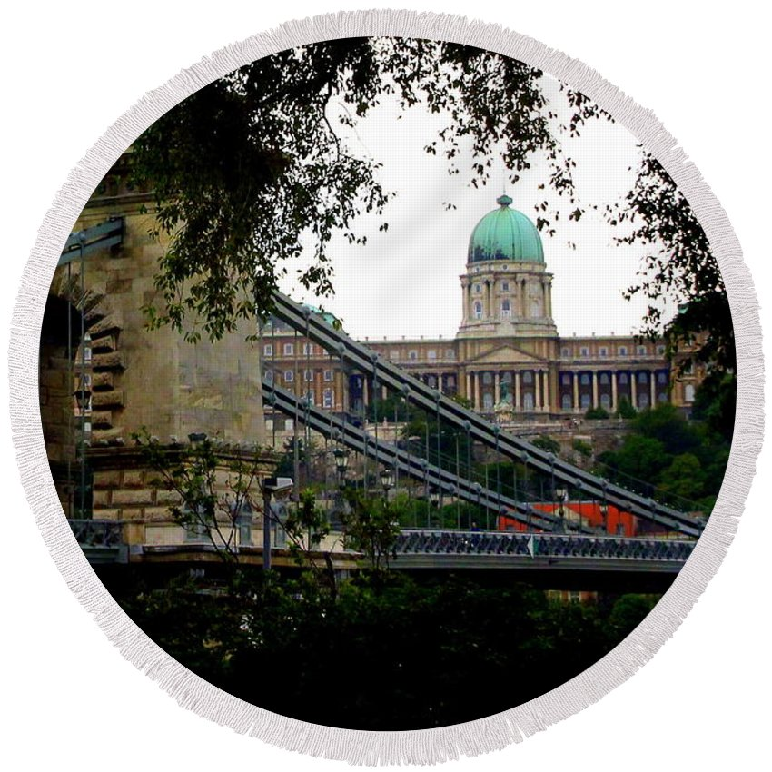 Szechenyl Round Beach Towel featuring the photograph The Szechenyl Chain Bridge by Laurel Talabere