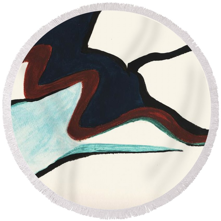 Abstract Round Beach Towel featuring the painting The Tad Pole by Myrtle Joy
