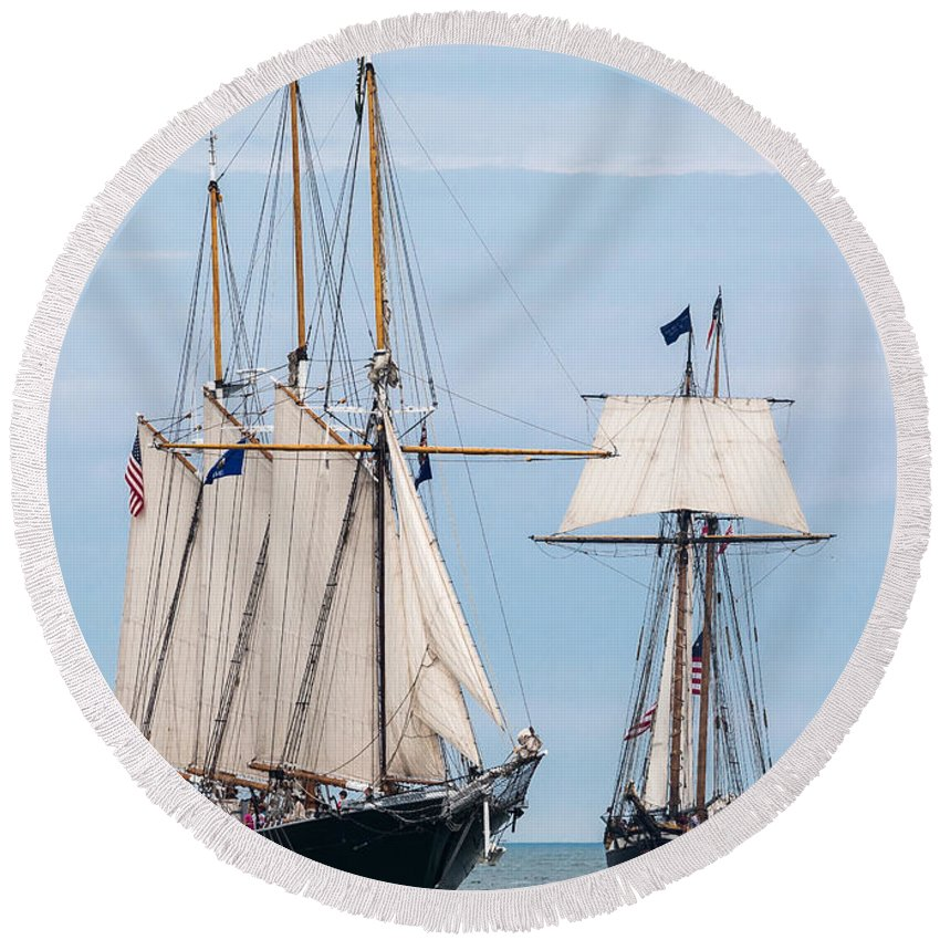 Tall Ships Round Beach Towel featuring the photograph The Tall Ships by Dale Kincaid