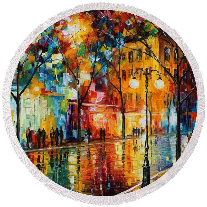 Leonid Afremov Round Beach Towel featuring the painting The Tears Of The Fall - Palette Knife Oil Painting On Canvas By Leonid Afremov by Leonid Afremov