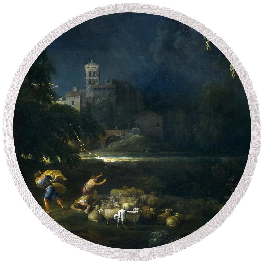Gaspard Dughet Round Beach Towel featuring the painting The Tempest by Gaspard Dughet