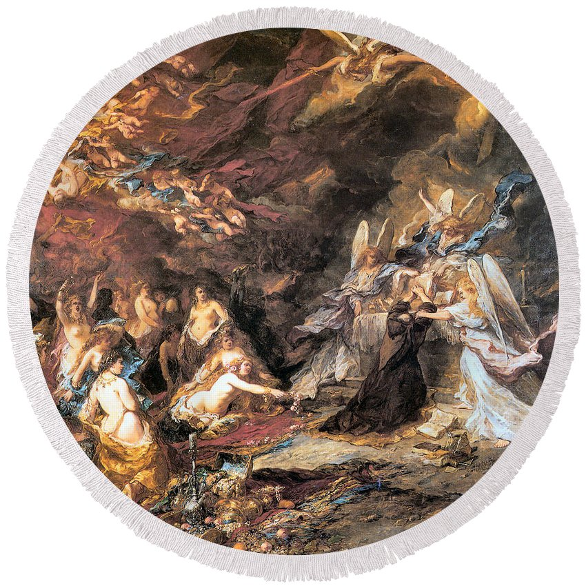 The Temptation Of St. Anthony Round Beach Towel featuring the digital art The Temptation Of St. Anthony by Louis Gabriel Eugene Isabey