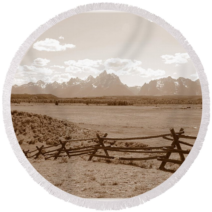 The Tetons Round Beach Towel featuring the photograph The Tetons In Sepia by Carol Groenen