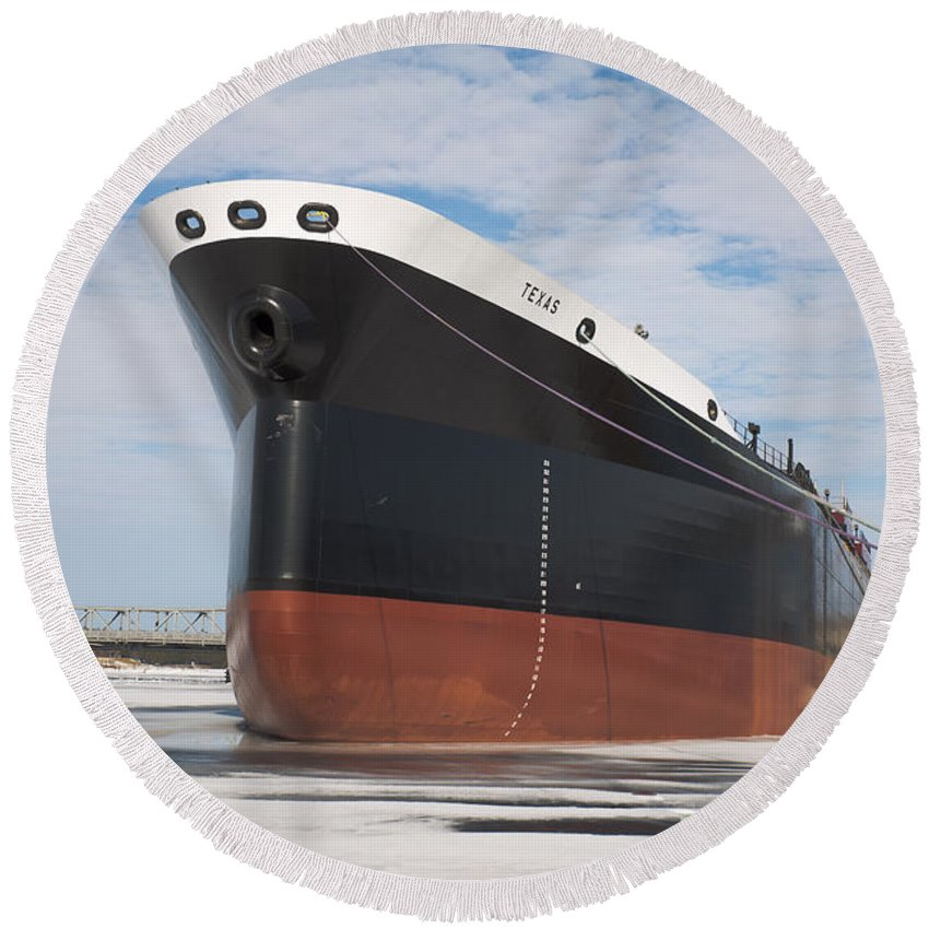 Ship Round Beach Towel featuring the photograph The Texas Cargo Ship by Nikki Vig