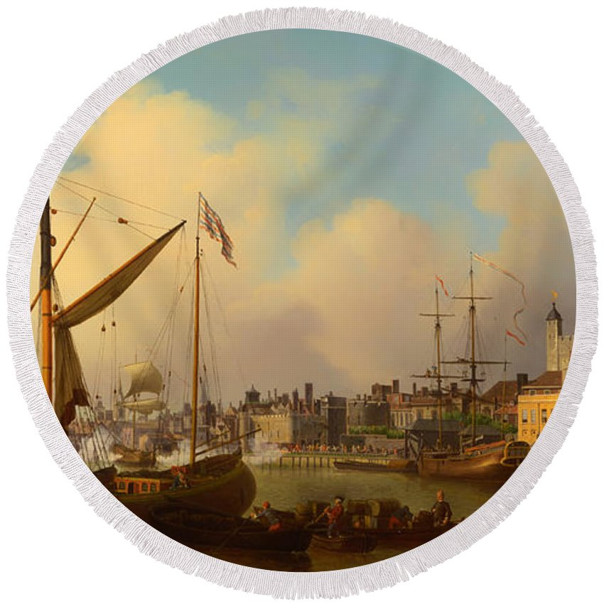 Painting Round Beach Towel featuring the painting The Thames And Tower Of London On The King's Birthday by Mountain Dreams