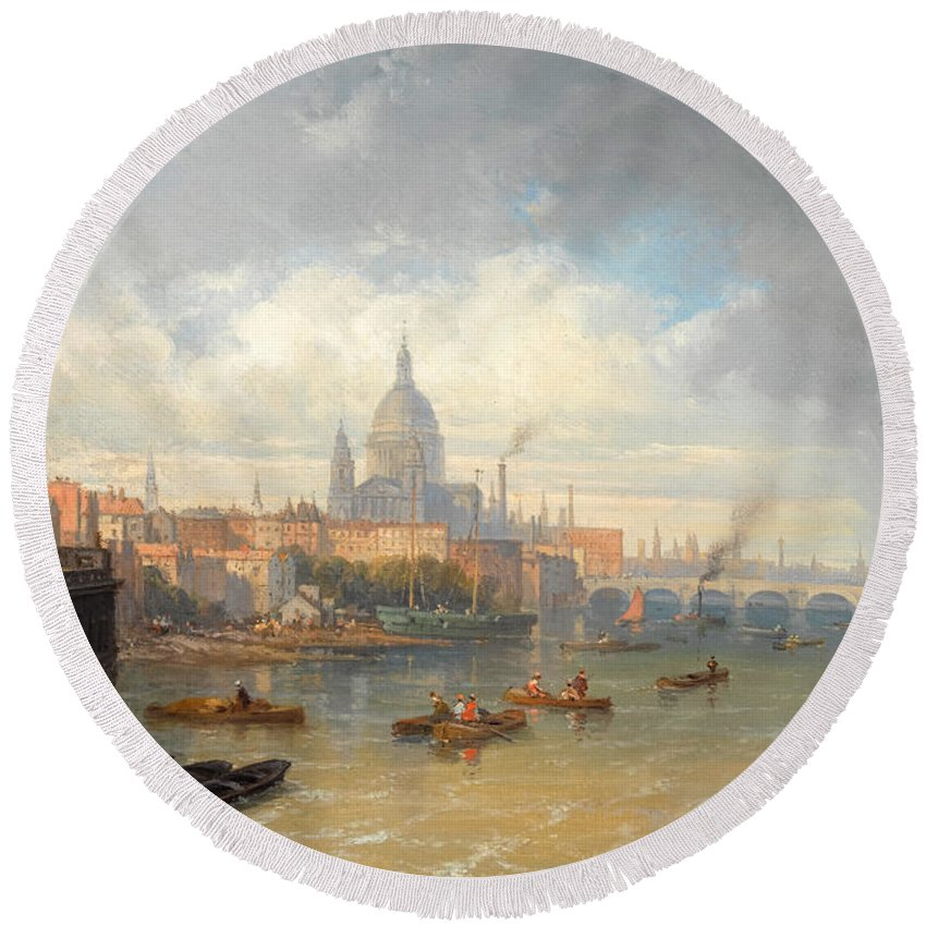 Pierre-justin Ouvrie Round Beach Towel featuring the painting The Thames With Somerset House And St Pauls Cathedral by Pierre-Justin Ouvrie