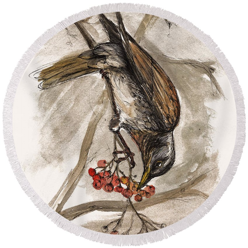 Thrush Round Beach Towel featuring the painting The Thrush Eating Cranberries by Angel Tarantella