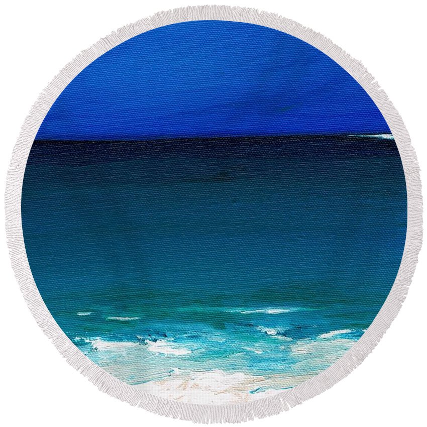 Seashore Round Beach Towel featuring the painting The Tide Coming In by Frances Marino