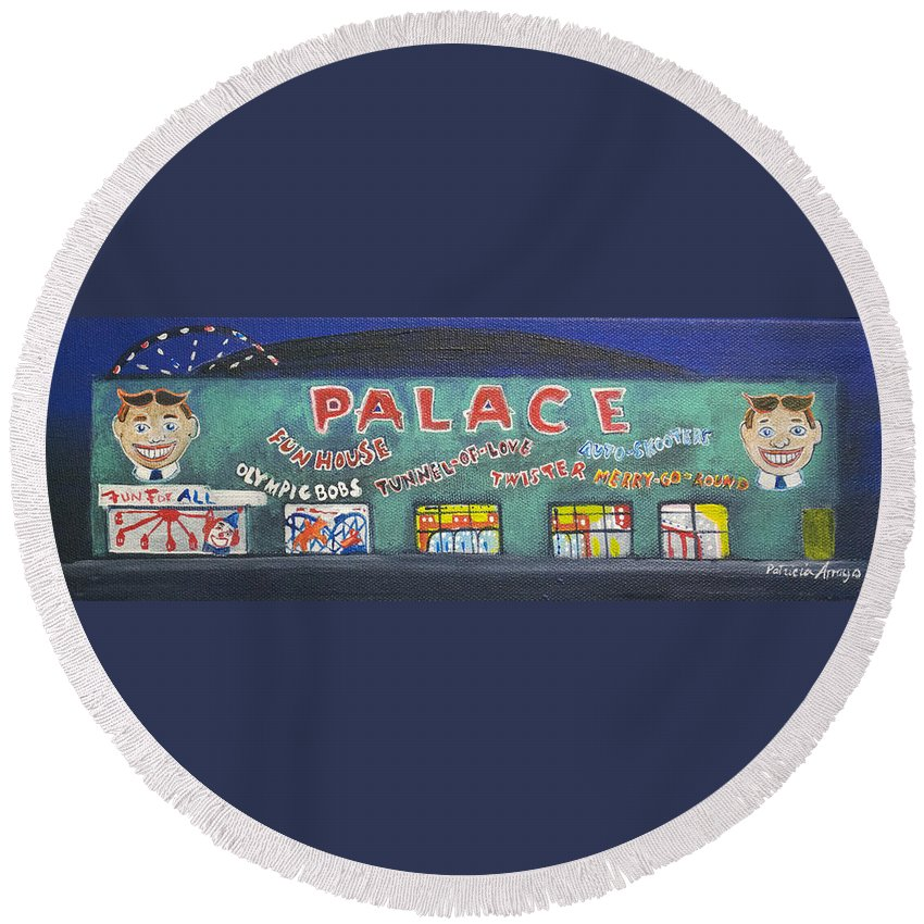 Tillie Of Asbury Park Round Beach Towel featuring the painting The Tiny Tiny Palace by Patricia Arroyo