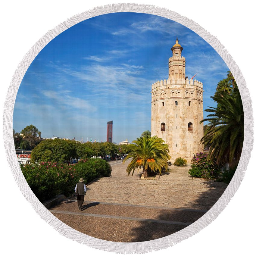 Photography Round Beach Towel featuring the photograph The Torre Del Oro, Gold Tower, Military by Panoramic Images