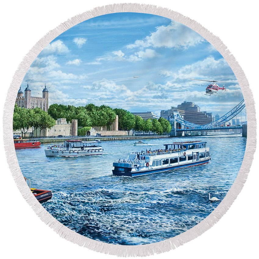 Boats Round Beach Towel featuring the digital art The Tower Of London by MGL Meiklejohn Graphics Licensing