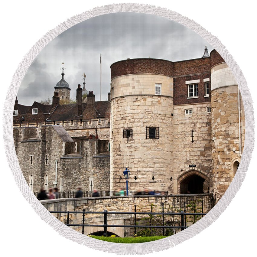 London Round Beach Towel featuring the photograph The Tower Of London Uk The Historic Royal Palace And Fortress by Michal Bednarek