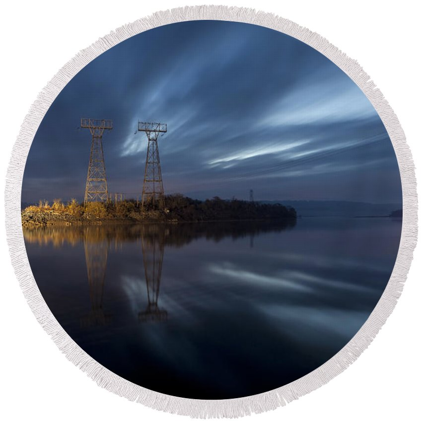 Conowingo Dam Round Beach Towel featuring the photograph The Towers Of Power by Edward Kreis