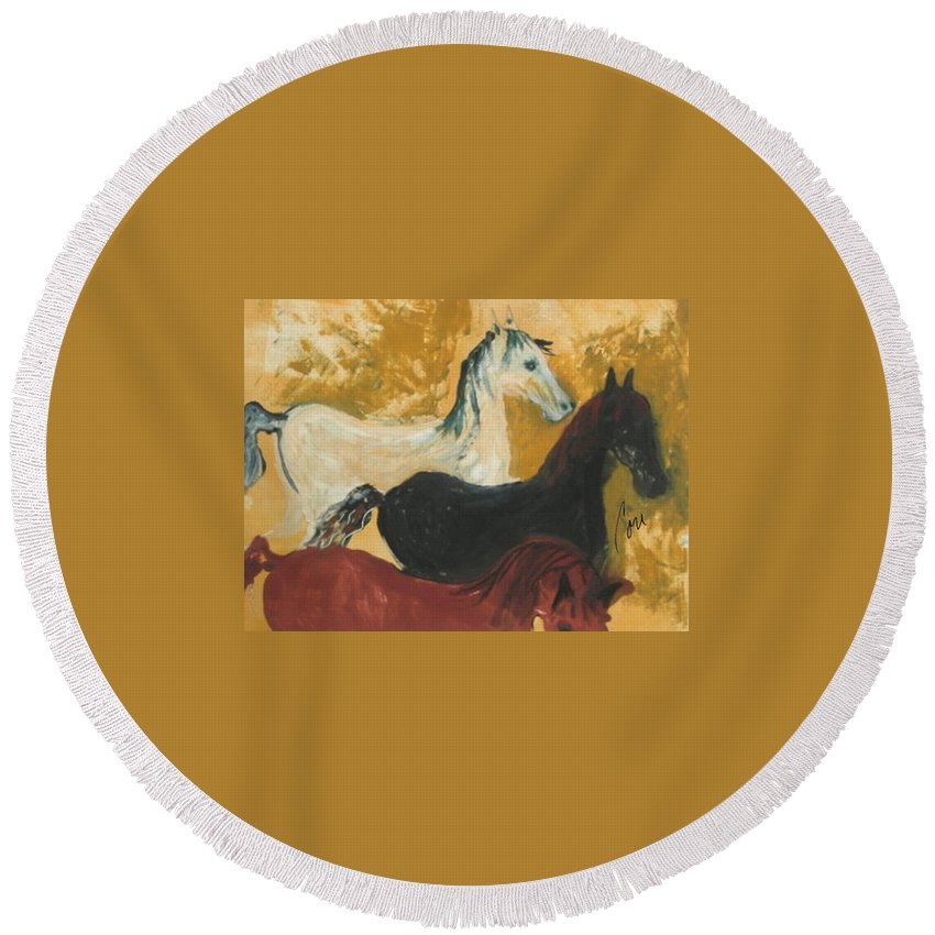 Horse Round Beach Towel featuring the mixed media The Trio by Cori Solomon