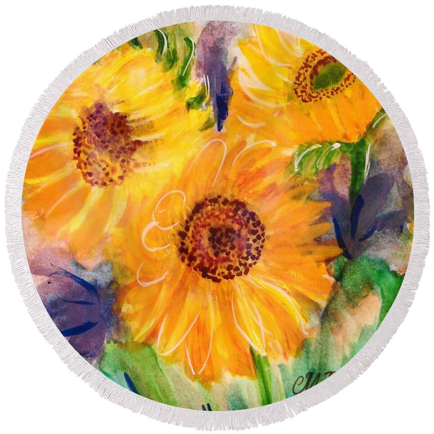 Sunflowers Round Beach Towel featuring the painting The Trio by Margaret Bobb