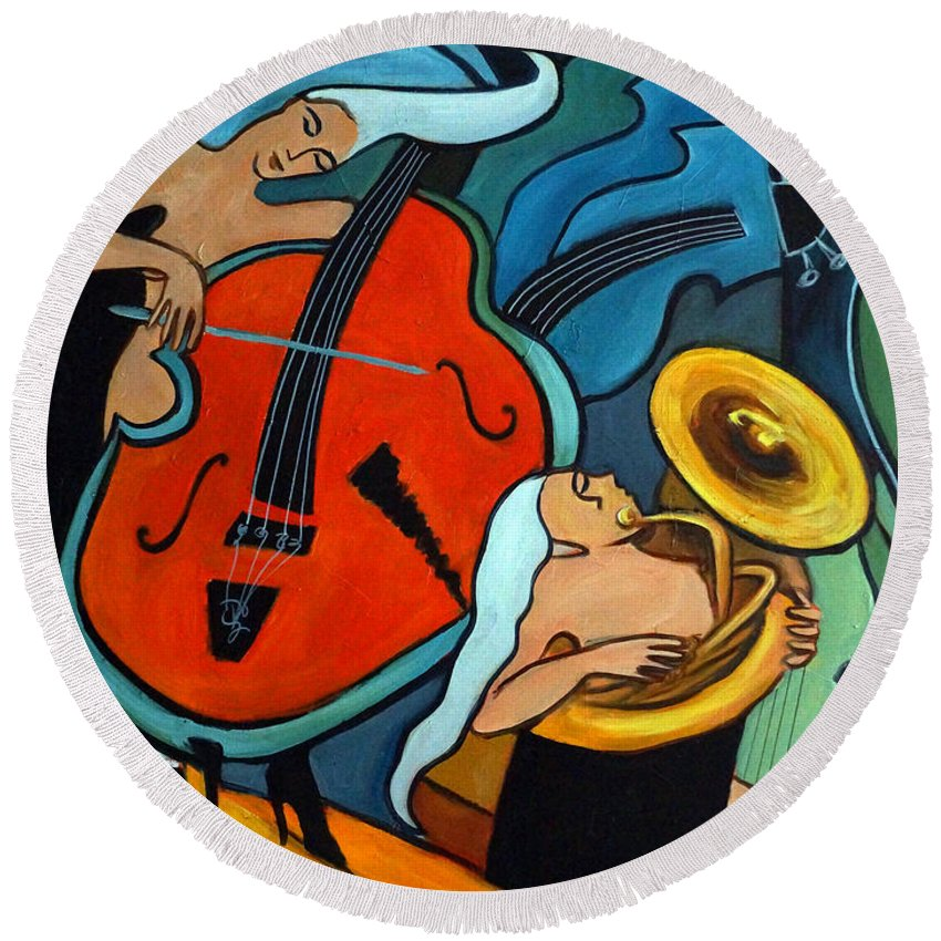 Musician Abstract Round Beach Towel featuring the painting The Tuba Player by Valerie Vescovi
