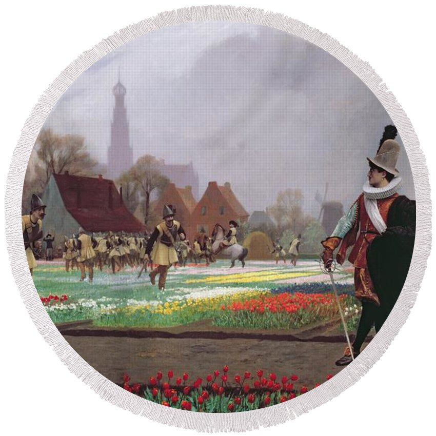Soldiers; Soldier; Ruff; Hat; Traditional Costume; Dutch; Cathedral Tower; Playing; Fields Of Tulips; Field; Colorful; Crop; Farm; Path; Horticulture; Holland; Commodity; Tulipomania Round Beach Towel featuring the painting The Tulip Folly by Jean Leon Gerome