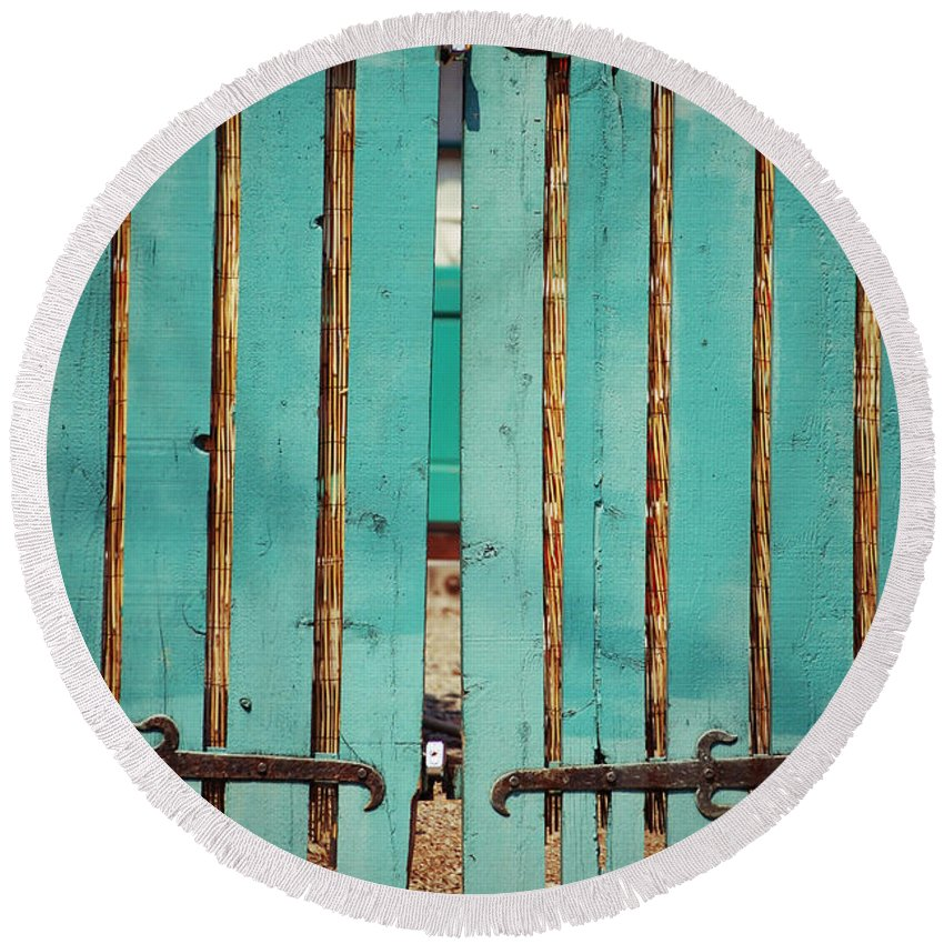 Turquoise Round Beach Towel featuring the photograph The Turquoise Gate by Holly Blunkall