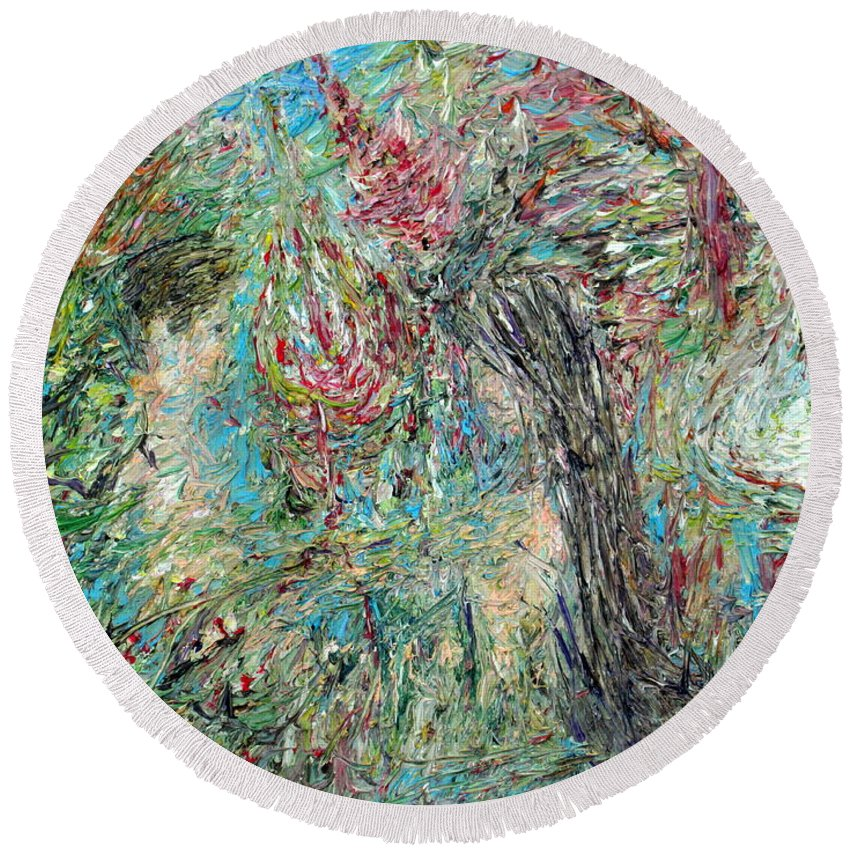 Man Round Beach Towel featuring the painting The Two And The Nature by Fabrizio Cassetta