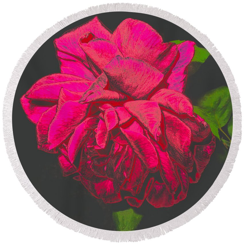 Rose Round Beach Towel featuring the photograph The Ultimate Red Rose by Joyce Dickens