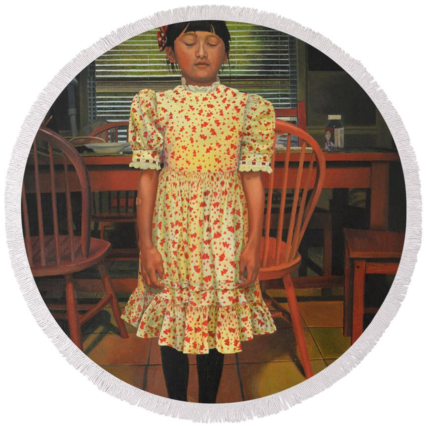 Children Paintings Round Beach Towel featuring the painting The Valentine Dress by Thu Nguyen
