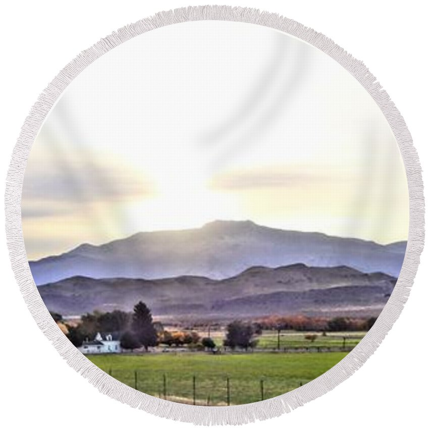 Colorado Round Beach Towel featuring the photograph The Valley by Korynn Neil