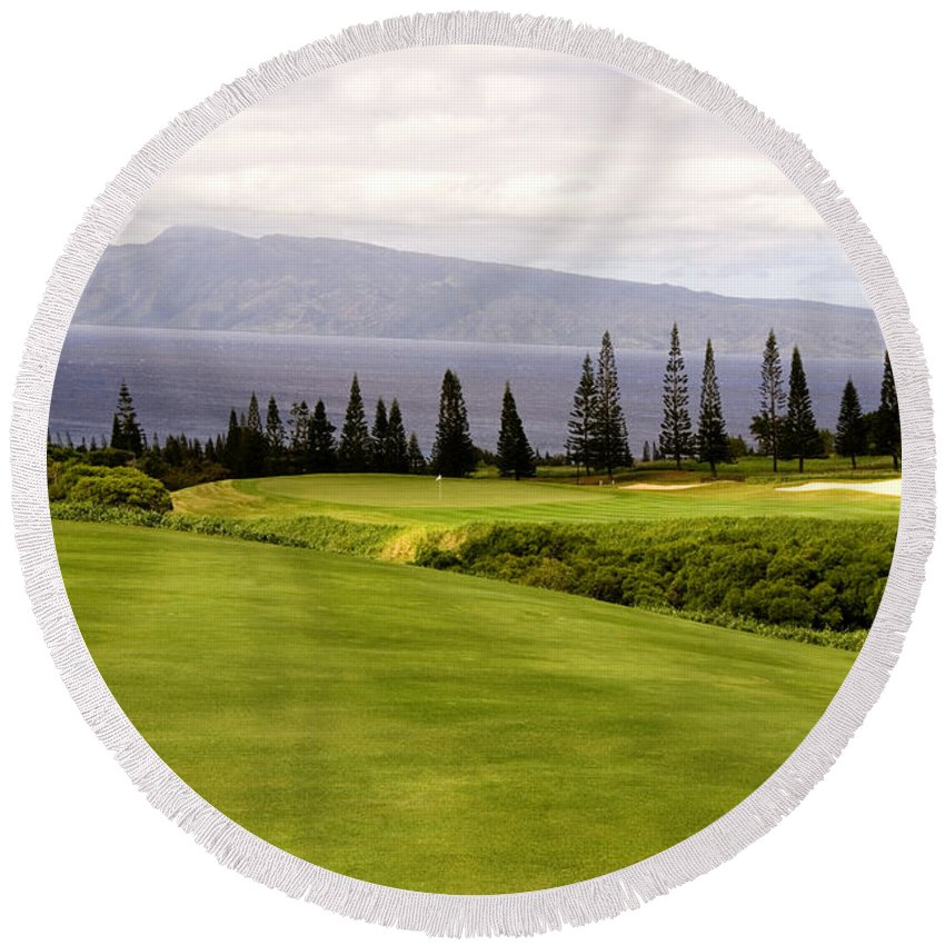 Golf Round Beach Towel featuring the photograph The View by Scott Pellegrin