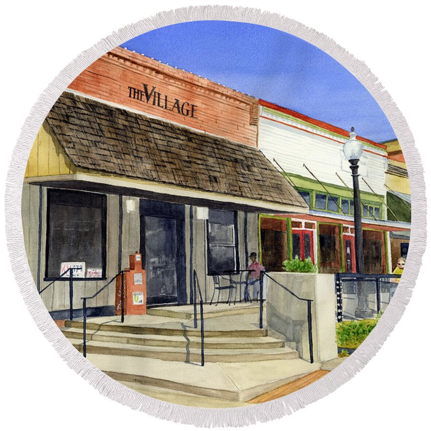 Downtown Round Beach Towel featuring the painting The Village by Hailey E Herrera