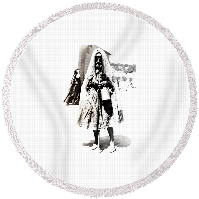 Vintage Round Beach Towel featuring the photograph The Village by Image Takers Photography LLC