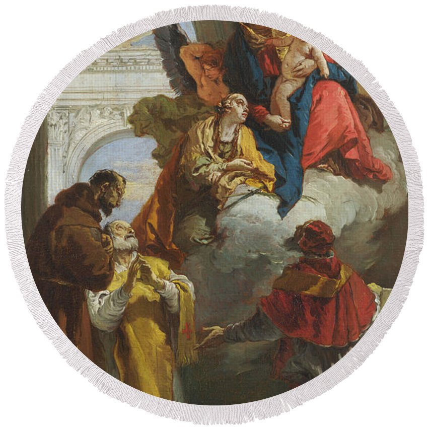 Giovanni Battista Tiepolo Round Beach Towel featuring the painting The Virgin And Child Appearing To A Group Of Saints by Giovanni Battista Tiepolo