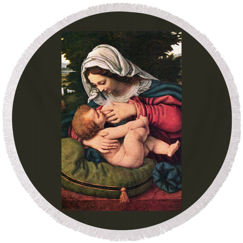 Solario Round Beach Towel featuring the painting The Virgin And The Green Cushion by Munir Alawi