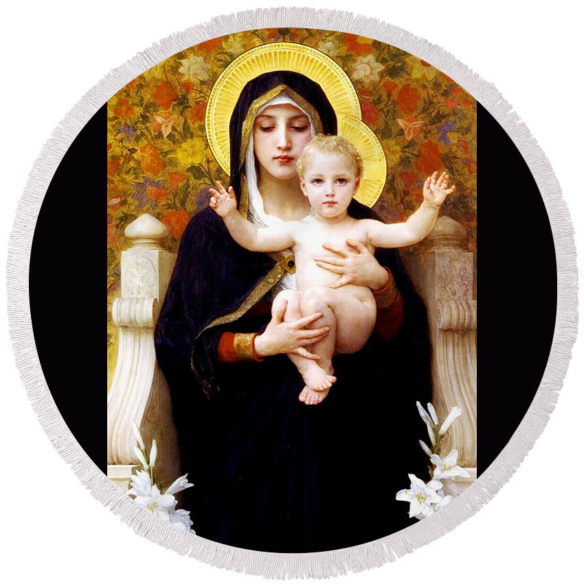 The Virgin Of The Lilies (la Vierge Au Lys) Round Beach Towel featuring the painting The Virgin Of The Lilies by William-Adolphe Bouguereau