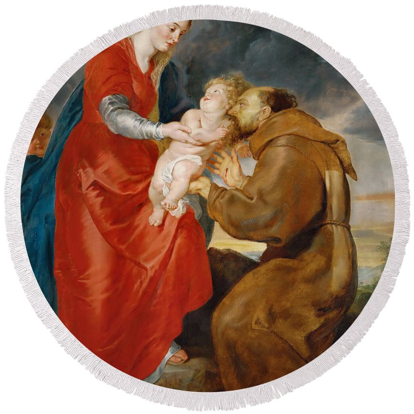 Peter Paul Rubens Round Beach Towel featuring the painting The Virgin Presents The Infant Jesus To Saint Francis by Peter Paul Rubens