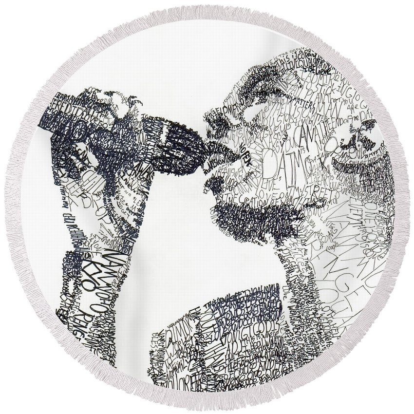 Singer Round Beach Towel featuring the drawing Maxi Jazz by Michael Volpicelli