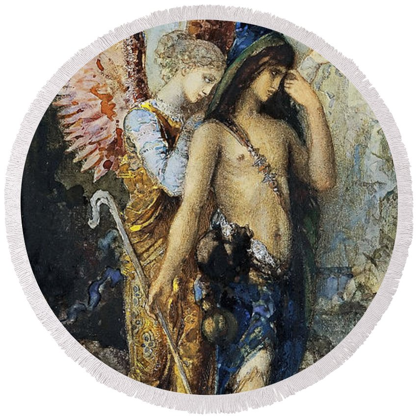 Gustave Moreau Round Beach Towel featuring the painting The Voices. Hesiod And The Muse by Gustave Moreau
