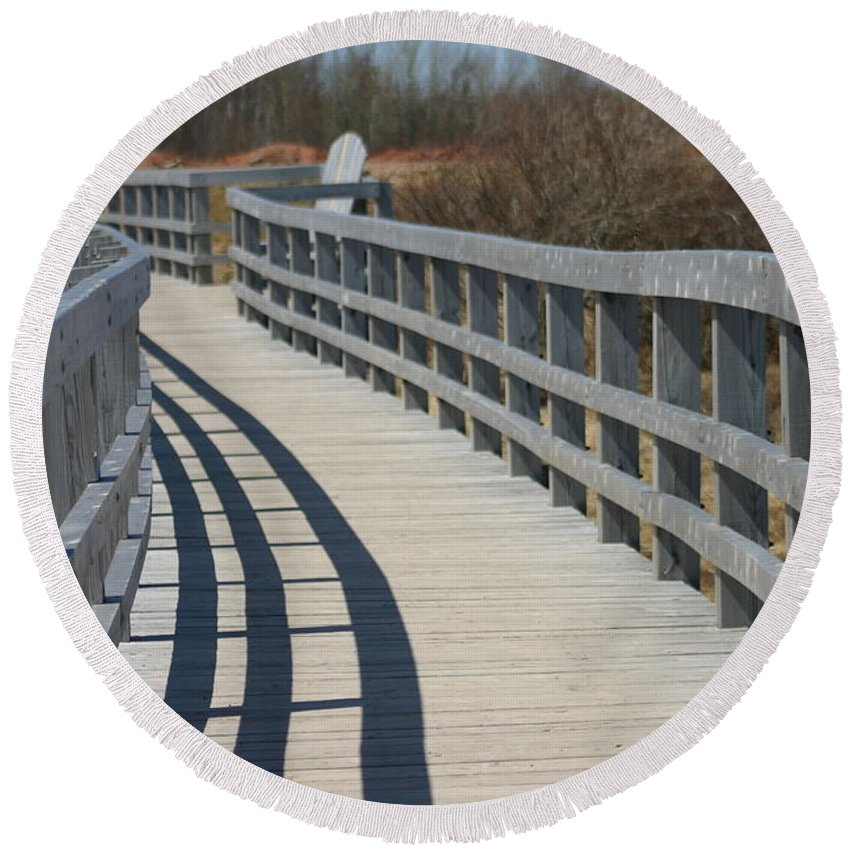 Waterfront Round Beach Towel featuring the mixed media The Walkway by Art MacKay