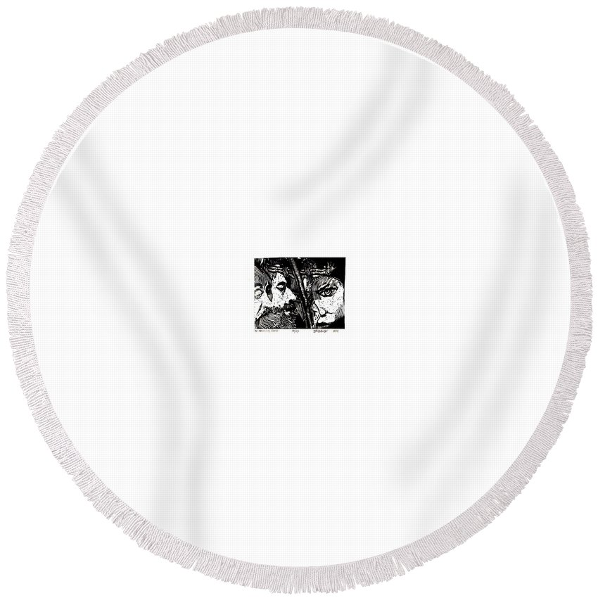 Spectators At The Crucifiction Of Jesus Christ Round Beach Towel featuring the relief The Watchers Of Death by Seth Weaver