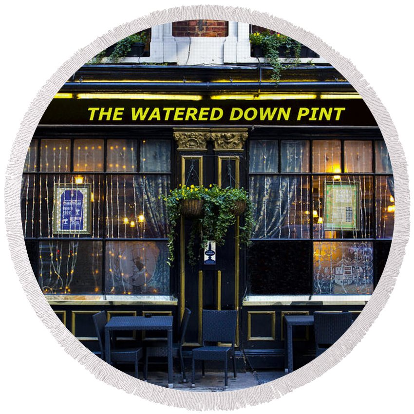 Pub Round Beach Towel featuring the photograph The Watered Down Pint by David Pyatt