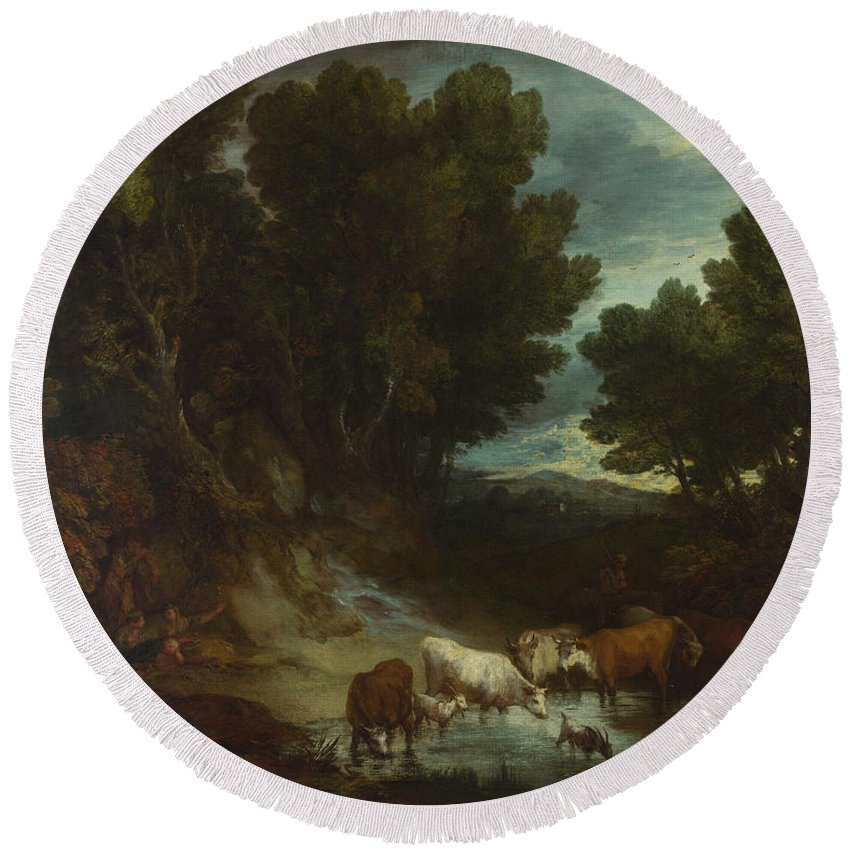 Thomas Gainsborough Round Beach Towel featuring the painting The Watering Place by Thomas Gainsborough