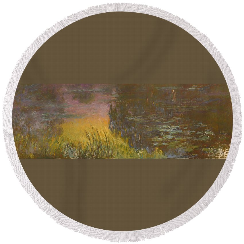Painting Round Beach Towel featuring the painting The Waterlilies At Setting Sun by Mountain Dreams