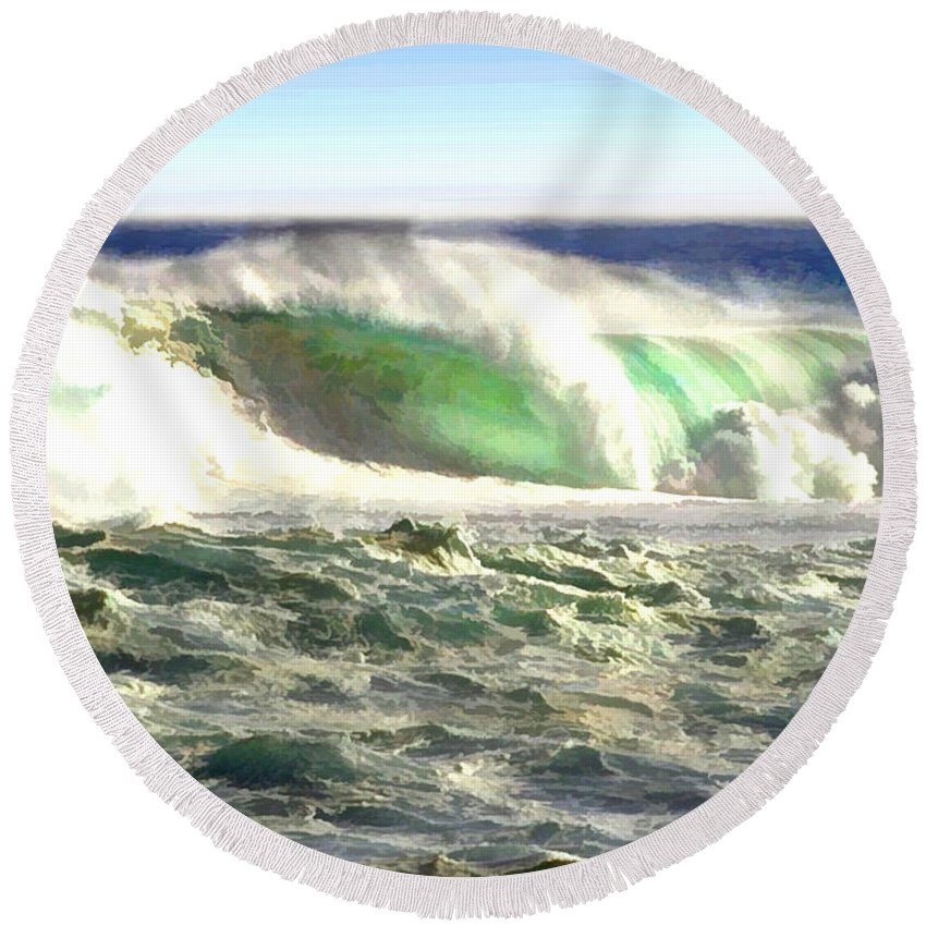 Ocean Round Beach Towel featuring the painting The Wave by Elaine Plesser