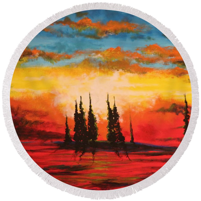 Landscape Round Beach Towel featuring the painting The Way Is Alway Opened by Stefan Duncan