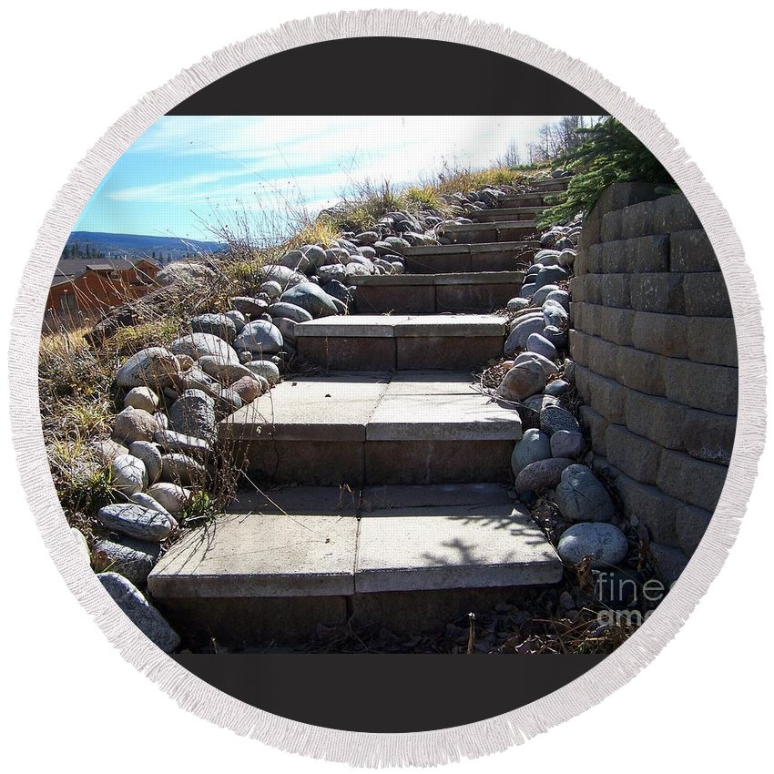 Steps Round Beach Towel featuring the photograph The Way Up by Jewell McChesney