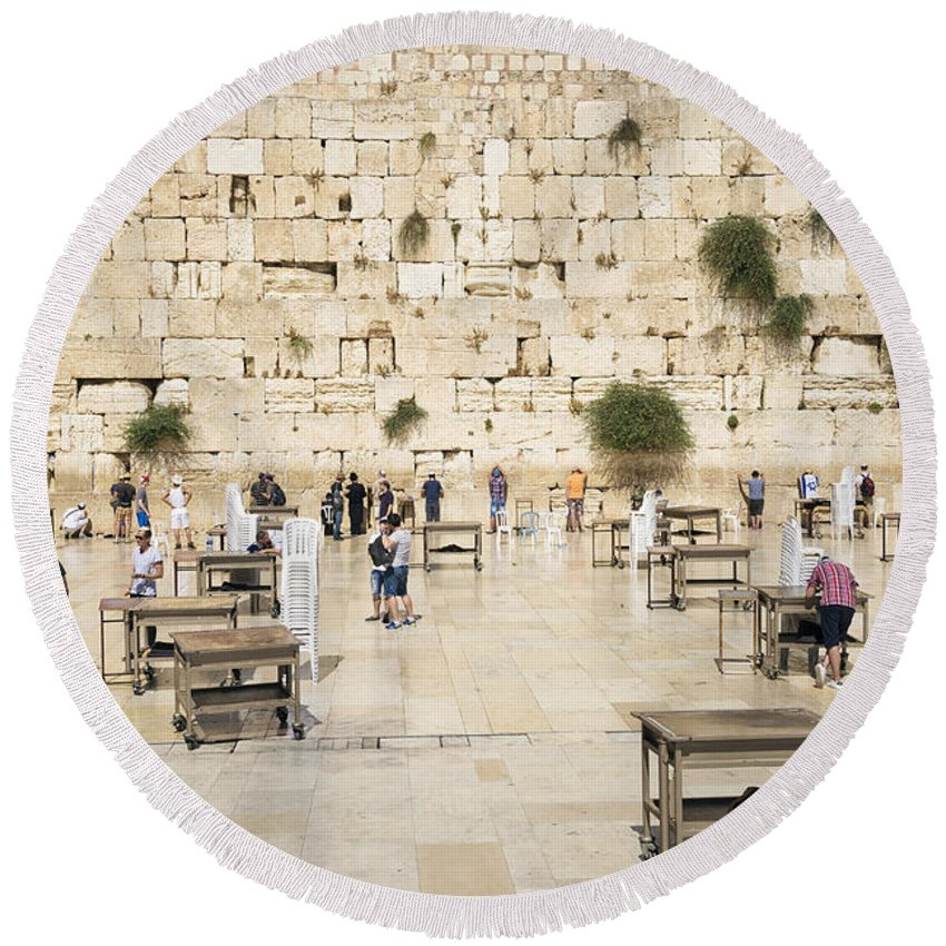 Architecture Round Beach Towel featuring the photograph The Western Wall In Jerusalem Israel by Jacek Malipan
